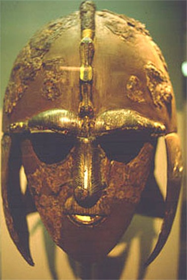 An Anglo-Saxon helmet found at Sutton Hoo