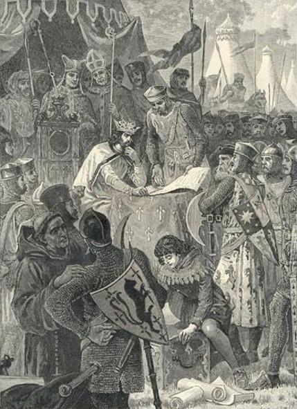 John of England signs Magna Carta 1215